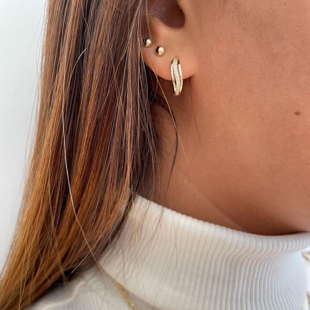 Gold Earrings | 14K Yellow Gold Women's Hoop Earrings- Venus