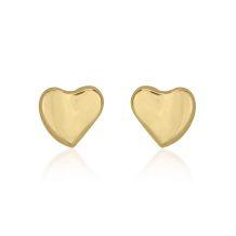 Gold Stud Earrings -  Loving Heart