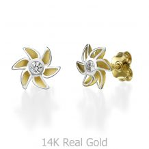 Stud Earring in White & Yellow Gold - Bloom of Love