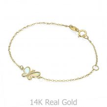 14K Gold Girls' Bracelet - Magic Butterfly