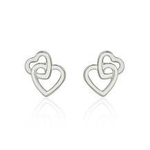 Stud Earrings in 14K White Gold - United Hearts