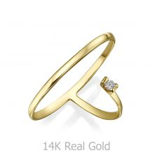 Diamond Ring in 14K Yellow Gold - Fortuna