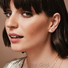 Stud Earrings in 14K Yellow Gold - Golden Cube - Large
