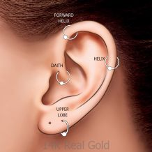 Helix / Tragus Piercing in 14K White Gold - Large