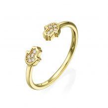 Open Ring in 14K Yellow Gold - Sparkling Hamsa