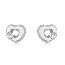 Stud Earrings in 14K White Gold - Symphonic Heart