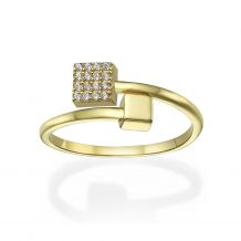 14K Yellow Gold Rings - Shimmering cubes