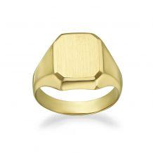 14K Yellow Gold Ring - Matte Square Seal