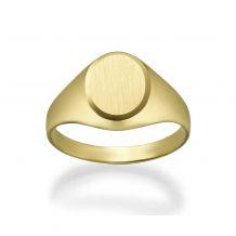 14K Yellow Gold Ring - Matte Circle Seal