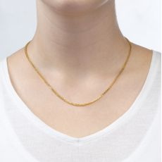"""14K Yellow Gold Spiga Chain Necklace 1.5mm Thick, 16.5"""" Length"""