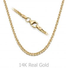 "14K Yellow Gold Spiga Chain Necklace 1.5mm Thick, 17.7"" Length"