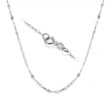 "14K White Gold Forzata Chain Necklace 1.35mm Thick, 17.7"" Length"
