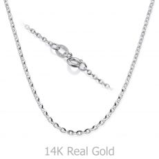 "14K White Gold Rollo Chain Necklace 1.6mm Thick, 16.5"" Length"