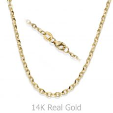 "14K Yellow Gold Rollo Chain Necklace 2.2mm Thick, 21.45"" Length"