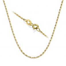 """14K Yellow Gold Twisted Venice Chain Necklace 1mm Thick, 16.5"""" Length"""