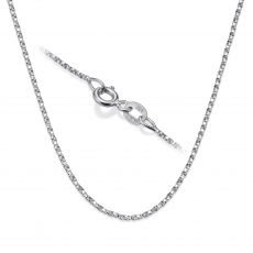 """14K White Gold Twisted Venice Chain Necklace 1mm Thick, 16.5"""" Length"""