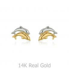 Gold Stud Earrings -  Leaping Dolphin