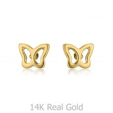 14k Gold Stud Earrings -  Flutterby