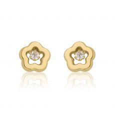 Gold Stud Earrings -  Spring Flower