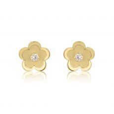 Gold Stud Earrings -  Daisy Flower