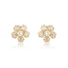 Gold Stud Earrings -  Flower Extraordinaire