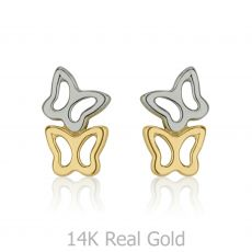 Gold Stud Earrings -  Butterfly in Two Colors