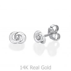 White Gold Stud Earrings -  Linked Circles
