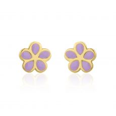 Gold Stud Earrings -  Flowering Daisy - Lilac