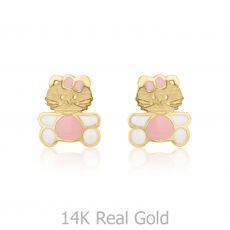 Gold Stud Earrings -  Kitty Kat