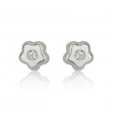 White Gold Stud Earrings -  Tiny Sparkling Flower