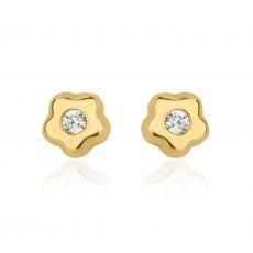 Gold Stud Earrings -  Tiny Flowering Star
