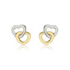 Gold Stud Earrings -  Hearts Intertwined