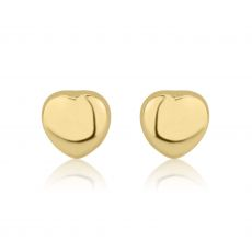 Gold Stud Earrings -  Exciting Heart