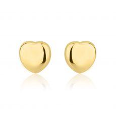 Gold Stud Earrings -  Classic Plan Heart