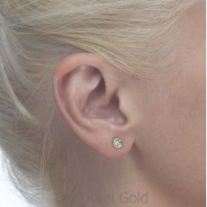 Gold Stud Earrings -  Topaz Circle - Small