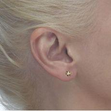 Gold Stud Earrings -  Blooming Pearl