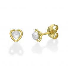 Gold Stud Earrings -  Pearl of Charm