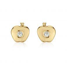 Gold Stud Earrings -  Sparkling Apple