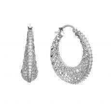 Hoop White Gold Earrings - Dream Catcher