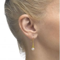 Drop and Dangle White Gold Earrings - Golden Pearl