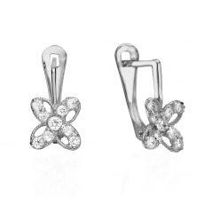 Drop White Gold Earrings - Flower of Julia