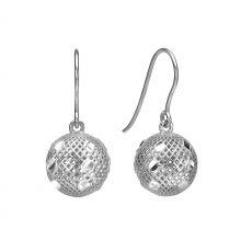 Gold Drop Earrings - Filigree Ball
