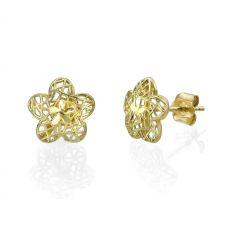 Gold Stud Earrings - Florina Flower