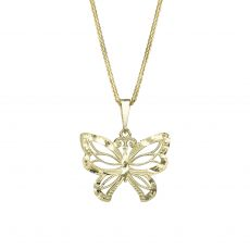 Gold Pendant - Flying Butterfly