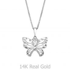White Gold Pendant - Flying Butterfly