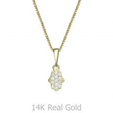 Gold Pendant - Lucky Hamsa