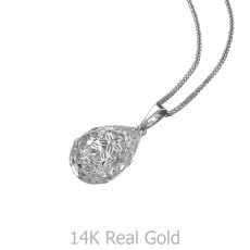 White Gold Pendant - Golden Drop