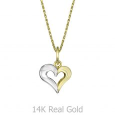Pendant and Necklace in Yellow and White Gold - United Heart