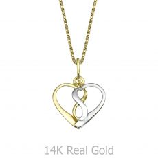 Pendant and Necklace in Yellow and White Gold - Cosmic Heart