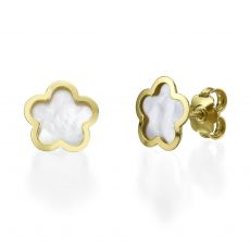 Stud Earring in Yellow Gold - Mother of Pearl Flower